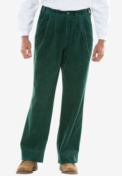 Six-Wale Corduroy Pleat-Front Pants, HUNTER