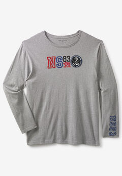 Nautica® Crewneck Graphic Tee, GREY HEATHER
