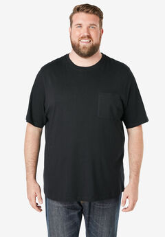 Shrink-Less™ Lightweight Pocket Crewneck T-Shirt, BLACK