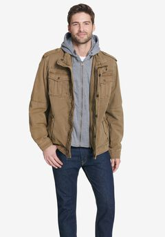 Removable Jersey Hooded Military Jacket,
