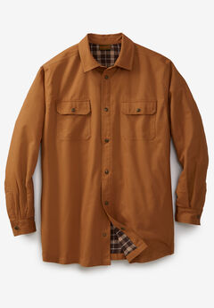 Flannel-Lined Twill Shirt Jacket by Boulder Creek®, CEDAR