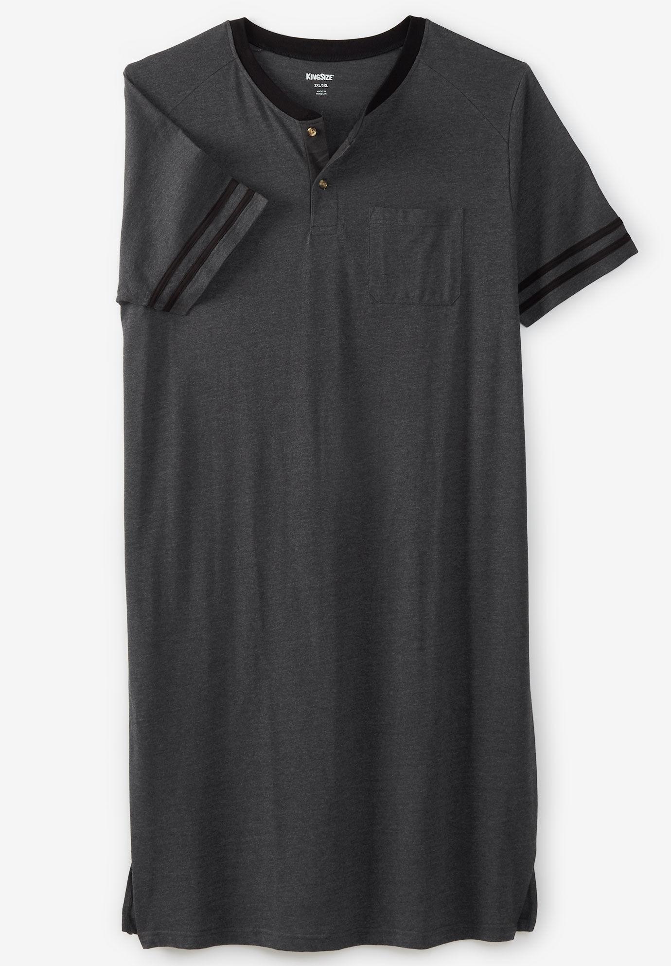 Men/'s Cotton Top Long Nightshirt Sleep Shirt Comfy Short Sleeve Henley Sleepwear
