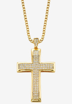 "Yellow Gold Plated Cubic Zirconia Studded Cross Pendant with 24"" Chain,"