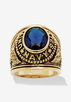 Gold-Plated Sapphire Navy Ring,
