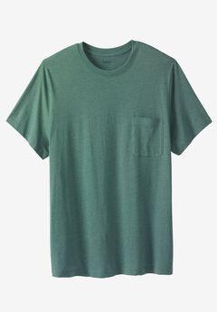 Lightweight Longer-Length Crewneck Pocket T-Shirt, HEATHER DEEP EMERALD