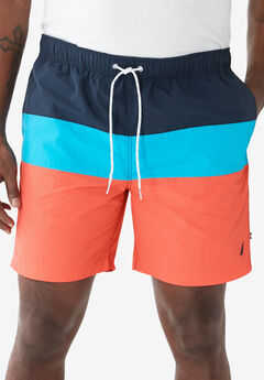 Nautica® Color Block Swim Shorts , LIVING CORAL