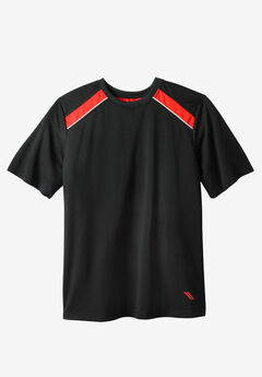 Power Wicking Short Sleeve Tee by KS Sport™, BLACK BLAZE RED
