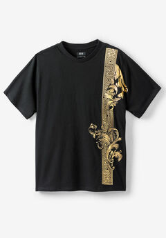 MVP Collections® Gold Floral-Scroll Screen Tee, ONYX