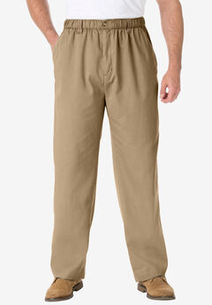 Knockarounds® Full-Elastic Waist Pants in Twill or Denim, KHAKI