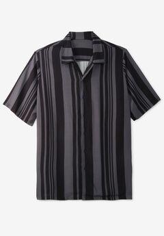 Short-Sleeve Colorblock Rayon Shirt,