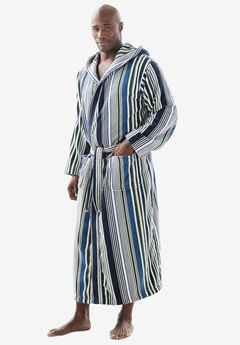 Terry Velour Hooded Maxi Robe, MULTI STRIPE