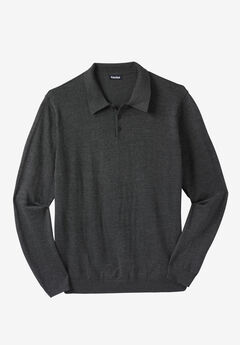 Polo Sweater, HEATHER CHARCOAL