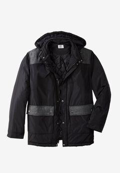 Mixed Media Coat by Liberty Blues®, BLACK BLACK HERRINGBONE