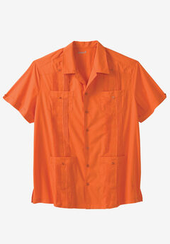 KS Island™ Short-Sleeve Guayabera Shirt, TEQUILA SUNRISE