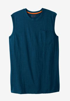 Heavyweight Pocket Muscle Tee by Boulder Creek®, HEATHER NAVY