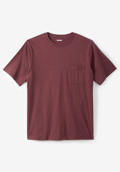 Shrink-Less™ Lightweight Pocket Crewneck T-Shirt, DUSTY PINK