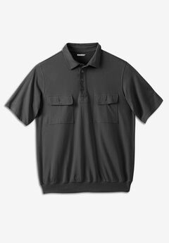 Textured Knit Banded Bottom Polo,