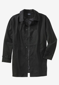 Water-Resistant Trench Coat, BLACK