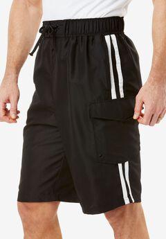 Double Stripe Board Shorts, BLACK