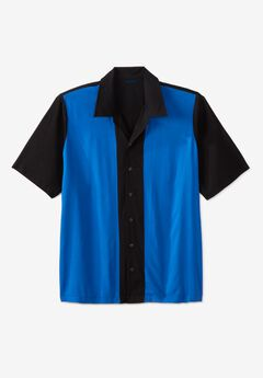 Short-Sleeve Colorblock Rayon Shirt, BLACK COLORBLOCK