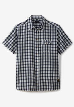 Short-Sleeve Checked Shirt by Replika®, NAVY STRIPE