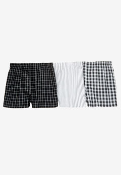 Assorted 3-Pack Boxers, ASSORTED BLACK