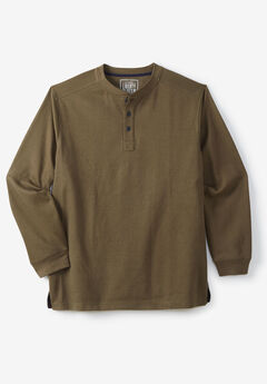 Easy-Care Ribbed Knit Henley Tee by Liberty Blues®, OLIVE BRUSH