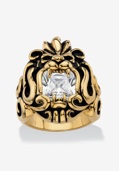 Men's Gold Ion-Plated Stainless Steel Cubic Zirconia Lion's Head Ring,