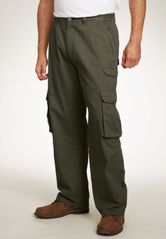 Boulder Creek® Side-Elastic Stacked Cargo Pocket Pants, OLIVE