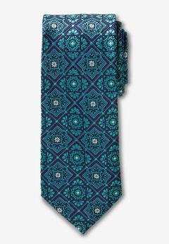 KS Signature Extra Long Classic Fancy Tie, TIDAL GREEN MEDALLION