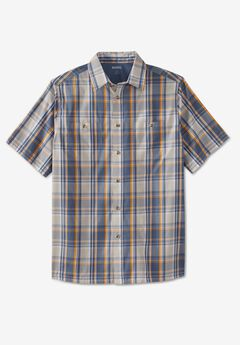 Short-Sleeve Plaid Sport Shirt, GREY PLAID