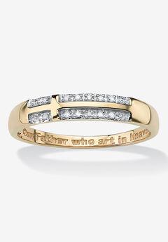 "10K Yellow Gold Diamond Accent ""Lord's Prayer"" Cross Ring,"