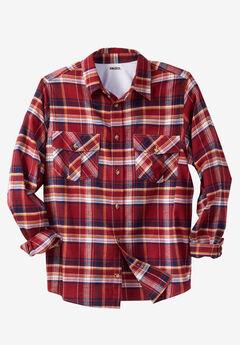 Long-Sleeve Plaid Flannel Shirt,