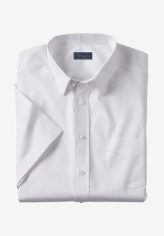KS Signature Classic Fit Broadcloth Flex Short-Sleeve Dress Shirt, WHITE