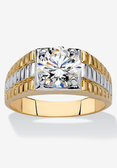 Yellow Gold Plated Cubic Zirconia Two-Tone Textured Ring,