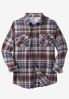Long-Sleeve Plaid Flannel Shirt,