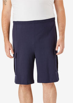 Lightweight Jersey Cargo Shorts, NAVY
