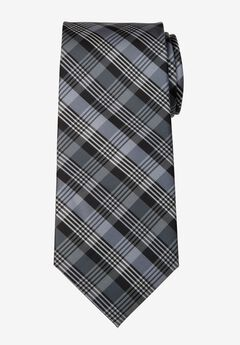 KS Signature Extra Long Classic Plaid Tie, GREY PLAID