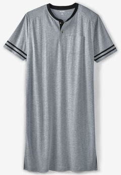 Short-Sleeve Henley Nightshirt,