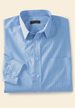 Classic Fit Broadcloth Flex Long-Sleeve Dress Shirt by KS Signature, SKY BLUE STRIPE