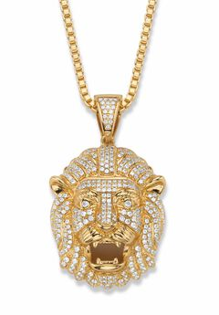 "Gold-Plated Lion Head Pendant with Cubic Zirconia accents with 22"" Chain,"