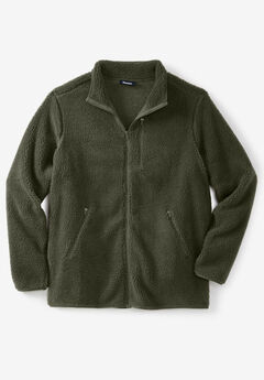 Zip-Front Sherpa Jacket, OLIVE