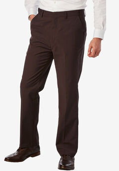 KS Signature No Hassle® Classic Fit Expandable Waist Plain Front Dress Pants, BROWN