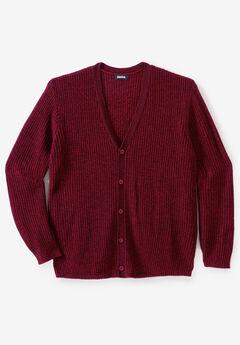 Shaker Knit V-Neck Cardigan Sweater, RICH BURGUNDY MARL