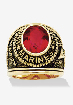 Gold-Plated Ruby United States Marines Ring,