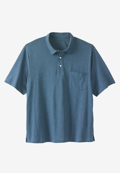 Lightweight Polo T-Shirt, HEATHER SLATE BLUE
