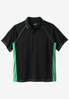 Raglan Sleeve Swim Polo, BLACK SEA GREEN