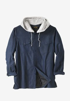 Removable Hood Shirt Jacket by Boulder Creek®, INDIGO DENIM