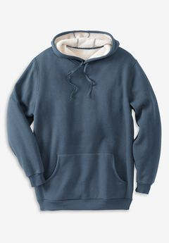 Sherpa-Lined Pullover Hoodie,