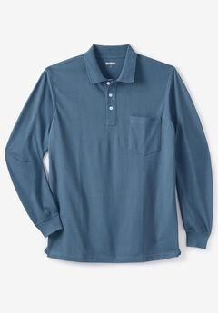 Longer-Length Long-Sleeve Piqué Polo, SLATE BLUE
